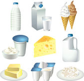 Milk products photo-realistic set — Stock Vector