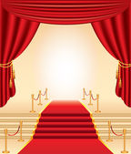 Red carpet, golden stanchions, stairs and curtains — Stock Vector