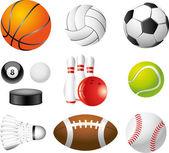 Sport balls photo-realistic set — Stock Vector