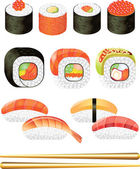 Sushi photo-realistic set — Stock Vector