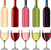 Wine and wineglasses photo-realistic set — Stock Vector