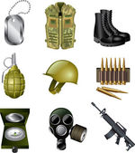 Army and military icons detailed set — Stock Vector