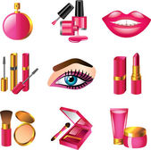 Cosmetics and make up detailed icons set — Stock Vector