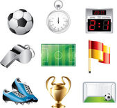 Soccer icons detailed set — Stock Vector