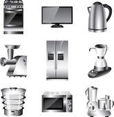 Kök apparater detaljerad uppsättning — Stockvektor