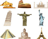 World famous monuments icons detailed set — Stock Vector
