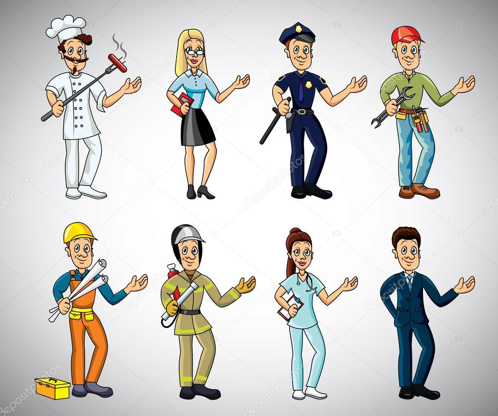 Art Jobs : Popular jobs and professions cartoon set — stock vector