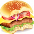 Bitten hamburger photo realistic vector — Stock Vector