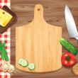 Cutting board on wooden table, food ingredients — Stock Vector