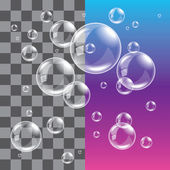 Transparent soap bubbles photo realistic vector — Stock Vector