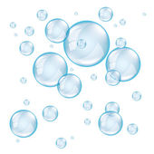 Transparent soap bubbles photo realistic vector — Stock Vector