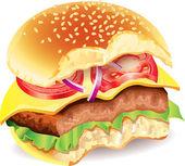 Bitten hamburger photo realistic vector — Stock Vector
