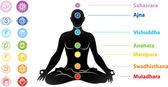 Symbols of seven chakras and man silhouette — Stock Vector