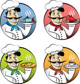 Italian cartoon chef or cook man vector set — Stock Vector
