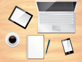 Office desk top view, photo realistic vector — Stock Vector