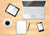 Office desk top view, photo realistic vector — Stock Vector