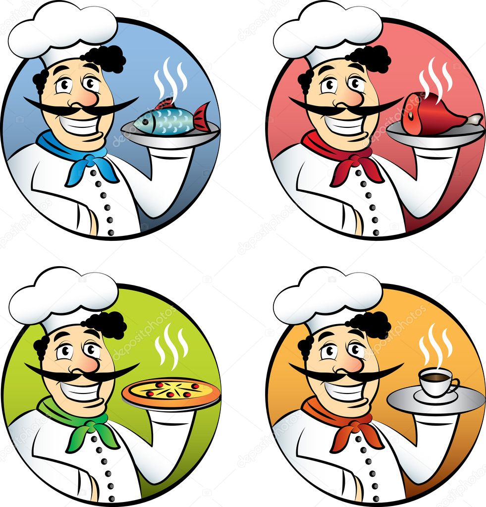Italiaanse cartoon chef-kok of kok man met pizza, vlees, vis en koffie ...: nl.depositphotos.com/31047285/stock-illustration-italian-cartoon...