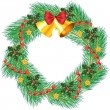 Christmas wreath with jingle bells — Stock Vector