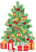 Gröna fir tree med dekorationer — Stockvektor