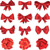 Red bows for decoration or gifts — Stock Vector