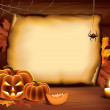 Stock Vector: Halloween background with pumpkins, paper, candle