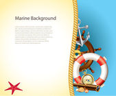 Marine background with sailor items — Stock Vector