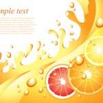 Juicy citrus splashes vector background — Stock Vector