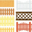 Stock Vector: Wooden fences vector set
