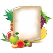 Stock Vector: Fruits and sheet of paper