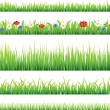 Stock Vector: Green grass and flowers vector set