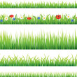 Green grass and flowers vector set — Stock Vector