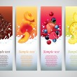Fruits in milk splashes vector banners — Image vectorielle