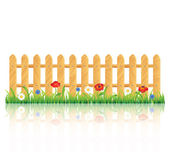 Wooden fence on grass with flowers — Stock Vector