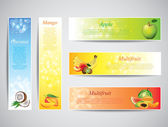 Colofrul banners with fruits, vector — Stock Vector