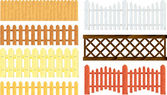 Wooden fences vector set — Stock Vector
