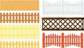 Wooden fences vector set — Stock Vector