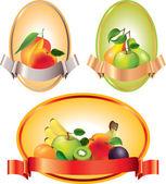 Etichette con frutti in vettoriale — Vettoriale Stock