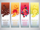Fruits in milk splashes vector banners — Stock Vector