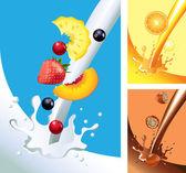 молоко и сок брызгами с фруктами в векторе — Cтоковый вектор