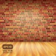 Brick wall and wood floor, vector background — Stock Vector