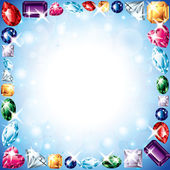 Diamonds and gemstones vector frame — Stock Vector