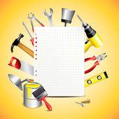 Boş kağıt ile inşaat araçları — Stok Vektör