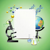 Scientific items with blank paper — Stock Vector