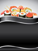 Sushi on black vertical background — Stock Vector