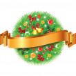 Christmas decorated fir-tree sphere and ribbon — Stock Vector