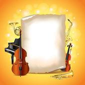 Strumenti musicali con carta bianca, vettoriale — Vettoriale Stock
