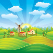 Rural landscape with houses and summer fields — Stock Vector