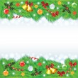 Christmas frame with decorated fir-trees — Stockvector