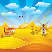 Autumn rural landscape with houses and fields — Stock Vector