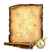Pirates treasure map with spyglass and compass — Stock Vector
